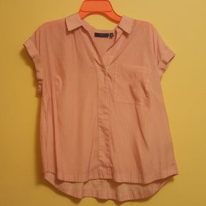 Apt 9 petite Pink and white striped blouse
